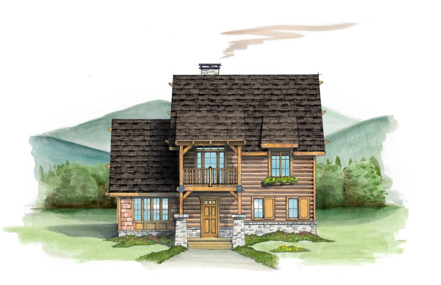 Floor plan custom log home timber frame hybrid home for Hybrid timber frame home plans