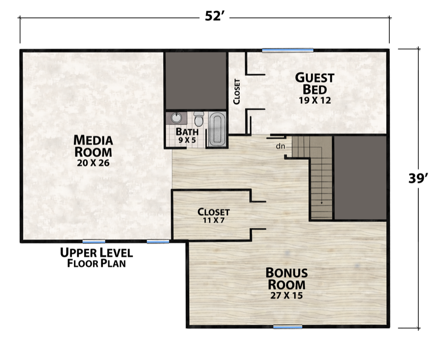 Papa bear plan details natural element homes for Lucky 4 ranch floor plan