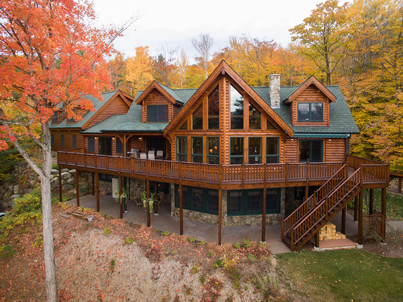 Natural element homes log homes hybrid homes timber for A frame log home